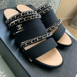 Chanel sandals mules leather chain detail 36 w box